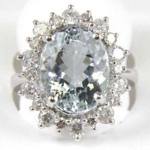 Oval Cut Aquamarine & Diamond Ring 14k WG 7.02Ct